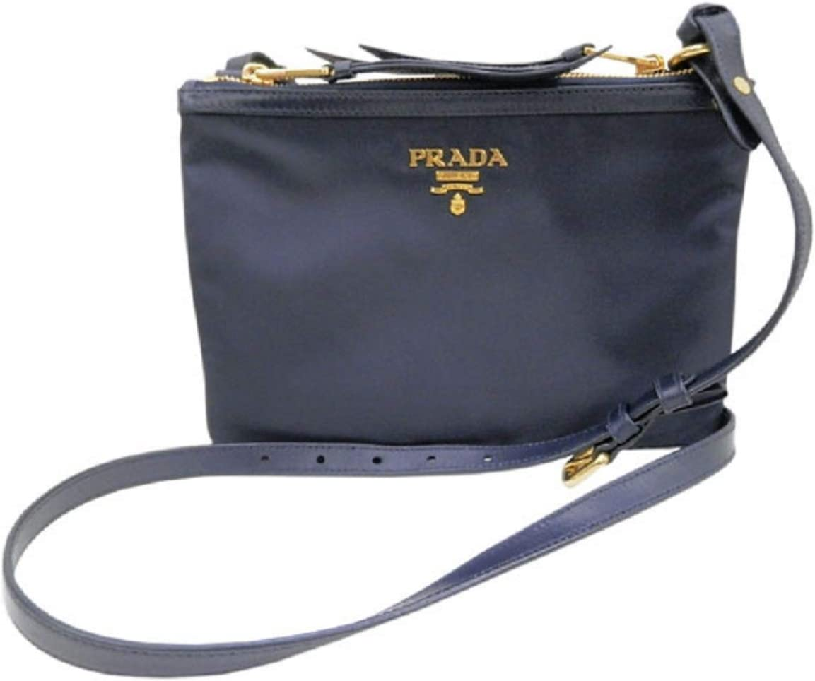 Prada Womens Tessuto Nylon Blue Double Zip Crossbody Bag 1BH046