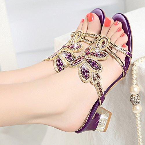 SSBY Mode Mit Dicken Coole Schuhe Anziehen Mit Komfort Komfort Komfort Diamond Diamond Rom. Violet d130c7
