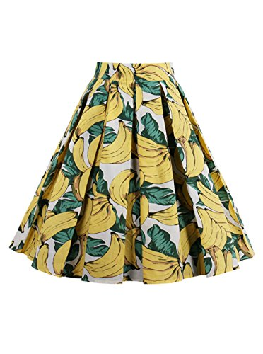 Glamour Vintage Blouse (Geek Lighting Women Princess Style Skirt Pleated Skirt Dress A-Line Dress (Medium,Flora-7))