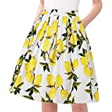 Musever Women's Pleated Vintage Skirts Floral Print Casual Midi Skirt Color-1 XXL