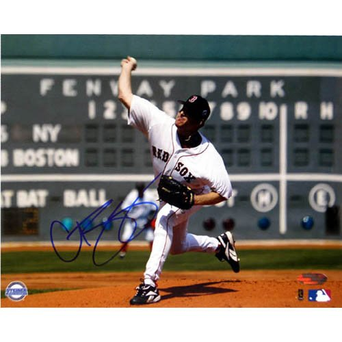 - MLB Curt Schilling Red Sox First Game vs Yankees Scoreboard Autographed 8-by-10-Inch Photograph