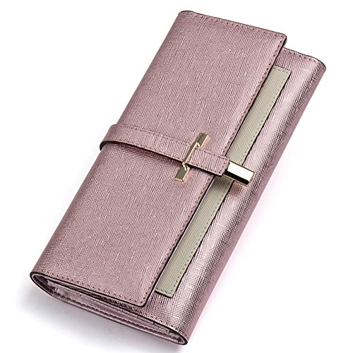 Clearance RFID Blocking Leather Wallet for Women Slim Clutch Purse Long Designer Trifold Checkbook Ladies Credit Card Holder Organizer Rose Gold
