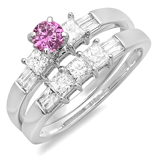 14K White Gold Pink Sapphire And White Diamond Ladies Bridal Engagement Ring Set (Size 5)