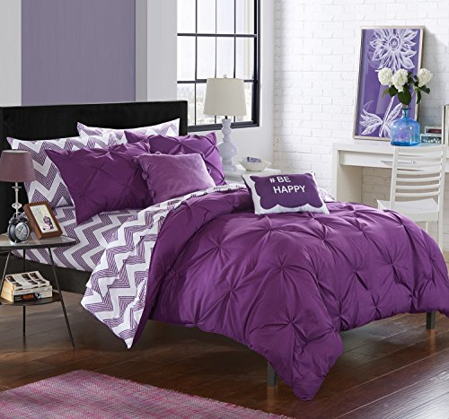 Chic Home 9 Piece Louisville Pinch Pleated and Ruffled Chevron Print Reversible Bed In a Bag Comforter Set Sheets, Full, Purple by Chic Home