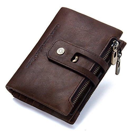 Men's Wallet, Minimalist Vintage Cowhide Leather Wallet With zipper pocket for men (Retro -