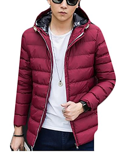 today Mens Jacket Wine Puffer Red Windproof Padded Hooded Down Lightweight UK rRp7qr
