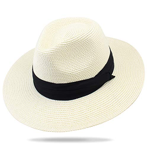 (FURTALK Panama Hat Sun Hats for Women Men Wide Brim Fedora Straw Beach Hat UV UPF Ivory)