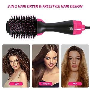 Hair Dryer Brush, Hot Air Brush, One Step Hair Dryer & Volumizer, Styler for Straightening, Curling, Salon Negative Ion Ceramic Electric Blow Dryer Rotating Straightener Curl Brush