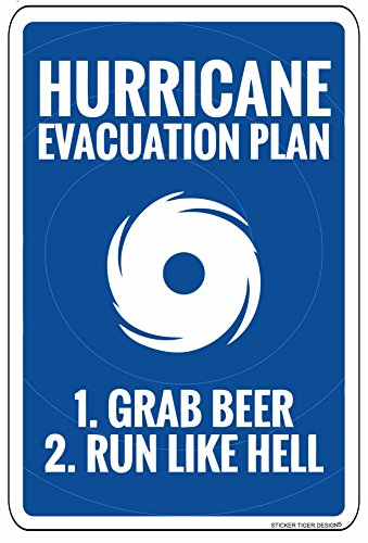 18' Plastic Parking Sign - Sticker Tiger Hurricane Evacuation Plan Novelty Metal Aluminum Sign 12X18