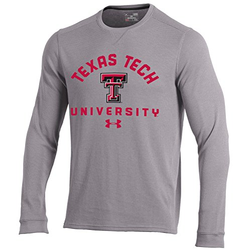 Under Armour NCAA Texas Tech Red Raiders Men's Waffle Knit Long Sleeve Tee, Large, True Grey Heather