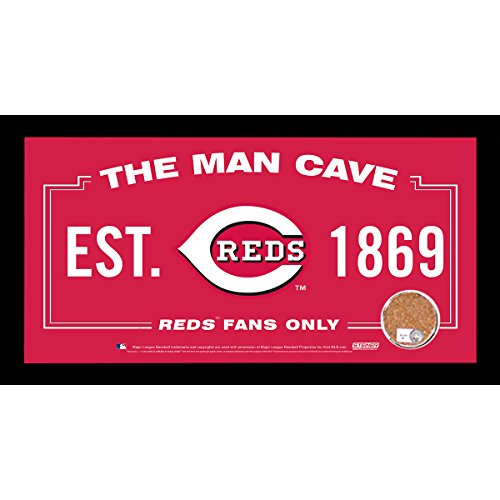 MLB Cincinnati Reds Man Cave Sign 6 x 12 Framed Photo With Authentic Game-Used Dirt