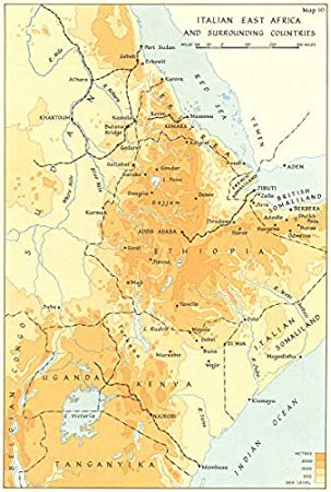 Map Of Africa And Surrounding Countries.Abyssinia Ethiopia Italian East Africa Surrounding Countries Ww2