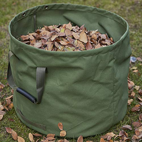 GearTaker Bulk Bags Canvas Garden Waste Bags Reusable and Collapsible Lawn Leaf Container 33 Gallons Super Sack with Handles (Army Green)