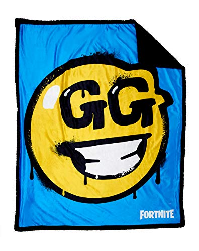Fortnite GG Smiley Face Sherpa Fleece Blanket