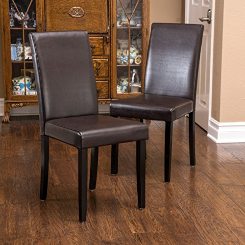 Esteban Brown Leather Parson Dining Chairs (Set of 2) (Bonded Leather Parson Chair)