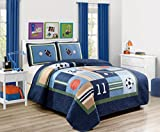 Fancy Linen 2pc Twin Size Bedspread Quilt Sport Kids Teens Baseball Basketball Football Soccer White Black Orange Brown Set New # Sport Navy