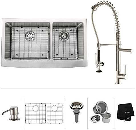 Kraus KBU22-KPF1621-KSD30SS 32 inch Undermount Double Bowl Stainless Steel Kitchen Sink with Stainless Steel Finish Kitchen Faucet and Soap Dispenser