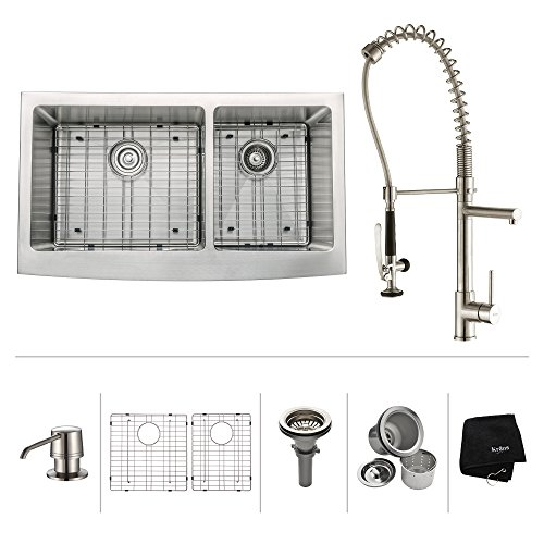 Level Double Bowl Kitchen Sink - Kraus KBU22-KPF1621-KSD30SS 32 inch Undermount Double Bowl Stainless Steel Kitchen Sink with Stainless Steel Finish Kitchen Faucet and Soap Dispenser