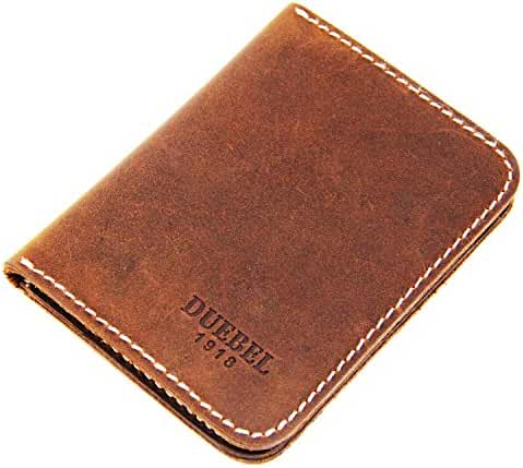 DUEBEL Bifold Slim Top Genuine Leather Thin Minimalist Front Pocket Wallets for Men Money - Made From Full Grain Leather