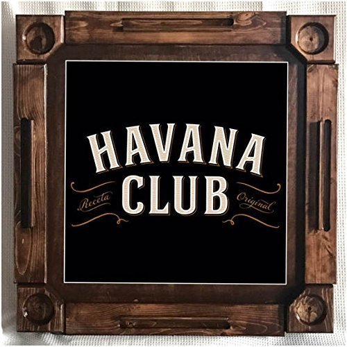 Havana Club Rum (Wooden/wood dominoes/domino table/mesa-custom made-Habana/Havana Club Rum Cuba-Solid Wood)