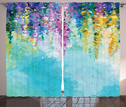 Watercolor Flower Home Decor Polyester Curtains with Holes, Ivy Romantic and Inspiring Landscape Spring Floral Art Nature Theme,2 Panel Drapes/Window Treatment for Living Room/Bedroom,55 W x 39 L