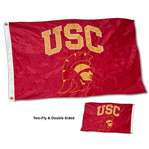 (College Flags and Banners Co. USC Trojans Trojan Head Double Sided Nylon Embroidered Flag)