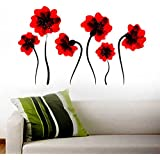 Decals Design 'Illuminating Flowers' Wall Sticker (PVC Vinyl, 50 cm x 70 cm), Multicolour