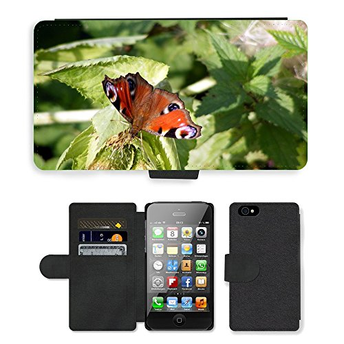 Just Phone Cases PU Leather Flip Custodia Protettiva Case Cover per // M00128702 Paon Insecte Nature // Apple iPhone 4 4S 4G