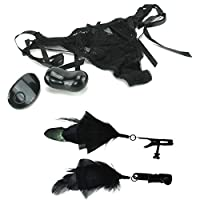 Vibrating Sexy Panties Thong with Remote Wireless Control Portable Discreet Vibrator and Feathers Nipple Clamps Black Pleasure Lingerie Set for Women