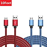 Micro USB Cable 2 Pack 10ft, BeneStellar Premium Nylon Braided Micro USB Ultra Durable 2.4 A High Speed Fast Charging Cables for Samsung, HTC, Huawei, Sony, Nexus, Motorola, Nokia, Android Smartphone and More (10ft / 3m, Red & Blue)