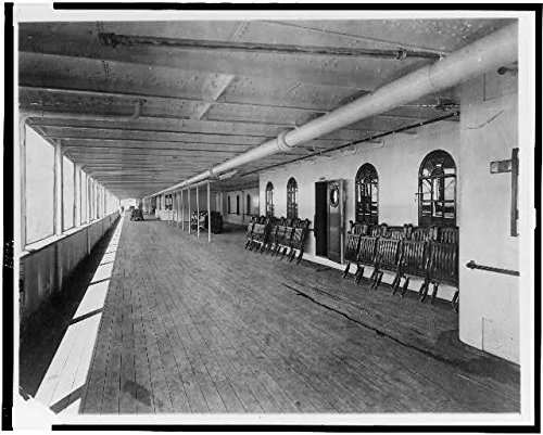 Photo: Great promenade deck of the Titanic,Steamship,1912,British Passenger - Promenade Map Shops