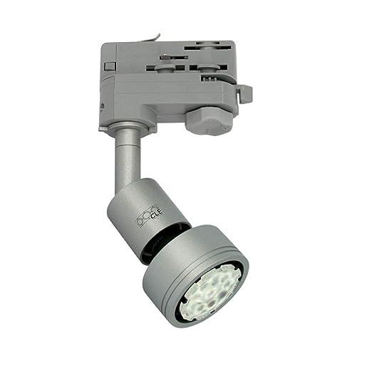Portalámparas GU10, en aluminio gris. Compatible con rieles