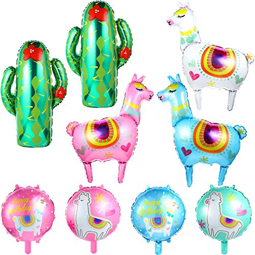 Llama Party Decoration Set, Include 7 Pieces Llama Foil Balloons and 2 Pieces Green Cactus Balloons for Wedding Llama Party Supplies