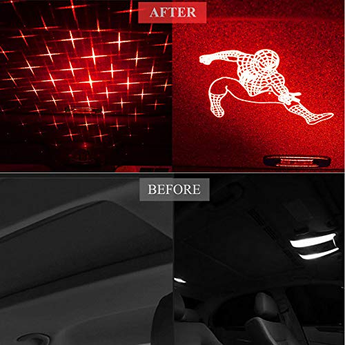 Upgrade Car USB Star Night Lights Interior Ceiling Lights Romantic Atmosphere Laser Light Projector with 3 Pattern Lens for Bedroom Camping Party Decor Light Red