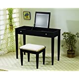Coaster Contemporary Espresso Flip Top Vanity with Fabric Seat Stool