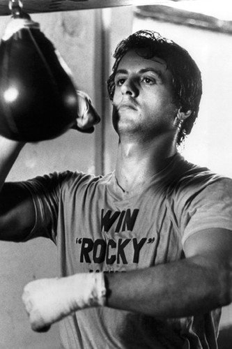 Sylvester Stallone in Rocky working out in gym punch bag 24x