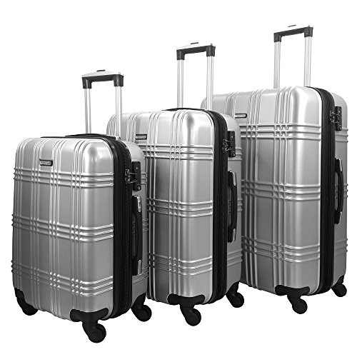 3 Piece Luggage Set Durable Lightweight Spinner Suitecase-LUG3-GL8109-SILVER