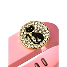 BSI 1pc Large Baby Pink Color Band with Jewelry Crystals Decoration /Black Cat With White Crystals and Gold/ for Fitbit FLEX Only With Metal Clasp Replacement /No tracker/+ Nice Crystals Feather Brooch