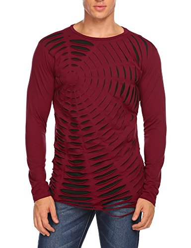 COOFANDY Men's Fashion Long Sleeve Spider Webs Hollow Out Top Tee - Spider Web Long Sleeve