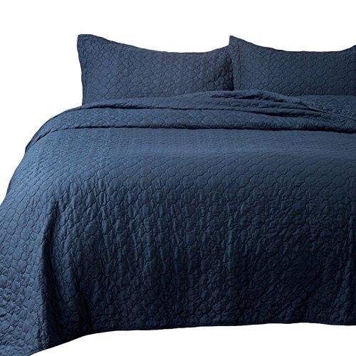 Bedsure Bedding Quilt Set Twin Size Navy Blue 68x86 Quatrefoil Pattern Luxury Design by Bedsure