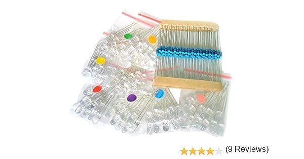 NiceButy 188pcs 5 mm varios colores transparente LED w/resistencias (8 colores, pack de 80): Amazon.es: Informática