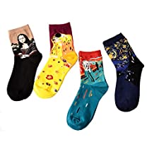 Famous Painting Patterned Socks - HSELL Women Casual Artwork Socks 4 Pack