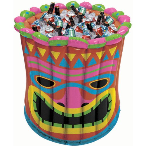 Water Themed Costume Party (Party Perfect Hawaiian Luau Inflatable Tiki Idol Cooler, Multi Color, 2 Feet)