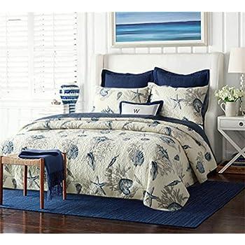 Queen Quilt Shams /& Toss Pillows Blue Watercolor Cottage Beach House 6 Pc Full