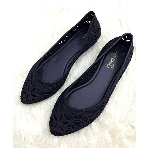 playa flores de QPYC impermeables sandalias de de plástico antideslizantes jalea plano helado black mujeres Shose huecas Zapatos lluvia las de acentuados talón 0FqFzxErn