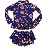 #9: Baby Kids Girls 2 Pieces Long Sleeve Sun Protection Umbrella Print Rash Guard UPF 50+ UV Swimsuit