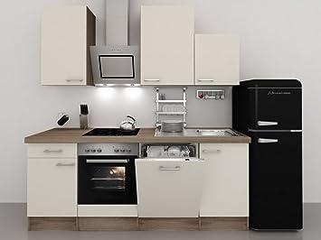 Küchenzeile 280 cm Magnolie mit Retro-Kühlschrank & Kopffreihaube ...