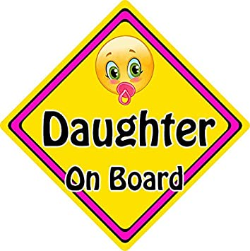 Personalised Child//Baby On Board Emoji Car Sign ~ Daughter On Board