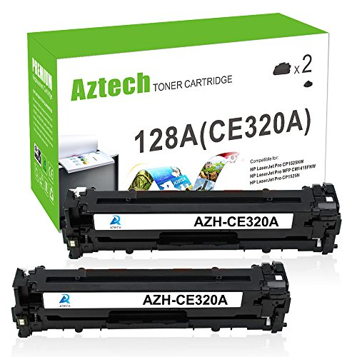Aztech 2 Pack 128A Toner CE320A Black Toner for Laserjet CP1525 CM1415 Printer (Black Cartridge Hp Ce320a)