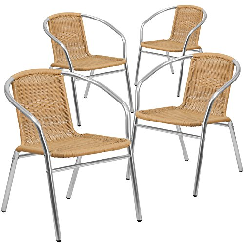 Flash Furniture 4 Pk. Commercial Aluminum and Beige Rattan Indoor-Outdoor Restaurant Stack Chair